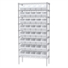 Wire Shelving Kit, 14x36x74, 40 Bins, Chrome/White