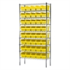 Wire Shelving Kit, 14x36x74, 40 Bins, Chrome/Yellow