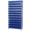 Akro-Mils Wire Shelving Kit, 14x36x74, 96 Bins, Chrome/Blue