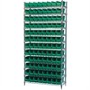 Akro-Mils Wire Shelving Kit, 14x36x74, 96 Bins, Chrome/Green