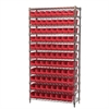Akro-Mils Wire Shelving Kit, 14x36x74, 96 Bins, Chrome/Red