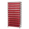 Wire Shelving Kit, 14x36x74, 96 Bins, Chrome/Red