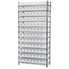 Wire Shelving Kit, 14x36x74, 96 Bins, Chrome/White