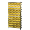 Wire Shelving Kit, 14x36x74, 96 Bins, Chrome/Yellow