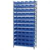 Akro-Mils Wire Shelving Kit, 14x36x74, 60 Bins, Chrome/Blue