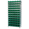 Wire Shelving Kit, 14x36x74, 60 Bins, Chrome/Green