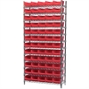 Wire Shelving Kit, 14x36x74, 60 Bins, Chrome/Red