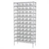 Wire Shelving Kit, 14x36x74, 60 Bins, Chrome/Clear