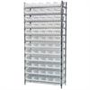 Wire Shelving Kit, 14x36x74, 60 Bins, Chrome/White