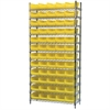 Wire Shelving Kit, 14x36x74, 60 Bins, Chrome/Yellow