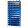 Wire Shelving Kit, 14x36x74, 48 Bins, Chrome/Blue