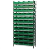 Wire Shelving Kit, 14x36x74, 48 Bins, Chrome/Green