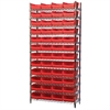 Akro-Mils Wire Shelving Kit, 14x36x74, 48 Bins, Chrome/Red
