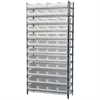 Akro-Mils Wire Shelving Kit, 14x36x74, 48 Bins, Chrome/White