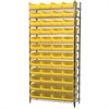 Wire Shelving Kit, 14x36x74, 48 Bins, Chrome/Yellow