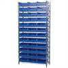 Akro-Mils Wire Shelving Kit, 14x36x74, 36 Bins, Chrome/Blue