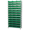 Akro-Mils Wire Shelving Kit, 14x36x74, 36 Bins, Chrome/Green