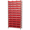 Wire Shelving Kit, 14x36x74, 36 Bins, Chrome/Red