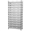 Akro-Mils Wire Shelving Kit, 14x36x74, 36 Bins, Chrome/White