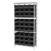Akro-Mils Wire Shelving Kit, 14x36x74, 36 Bins, Chrome/Black