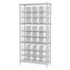 Wire Shelving Kit, 14x36x74, 36 Bins, Chrome/Clear