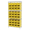 Wire Shelving Kit, 14x36x74, 36 Bins, Chrome/Yellow