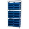 Akro-Mils Wire Shelving Kit, 14x36x74, 18 Bins, Chrome/Blue