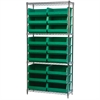 Wire Shelving Kit, 14x36x74, 18 Bins, Chrome/Green