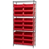 Akro-Mils Wire Shelving Kit, 14x36x74, 18 Bins, Chrome/Red