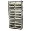 Wire Shelving Kit, 14x36x74, 18 Bins, Chrome/Stone