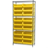 Akro-Mils Wire Shelving Kit, 14x36x74, 18 Bins, Chrome/Yellow