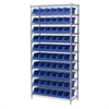 Wire Shelving Kit, 14x36x74, 10 Bins, Chrome/Blue