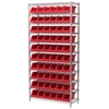 Wire Shelving Kit, 14x36x74, 10 Bins, Chrome/Red