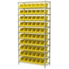 Akro-Mils Wire Shelving Kit, 14x36x74, 10 Bins, Chrome/Yellow