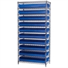 Wire Shelving Kit, 14x36x74, 20 Bins, Chrome/Blue