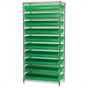 Akro-Mils Wire Shelving Kit, 14x36x74, 20 Bins, Chrome/Green