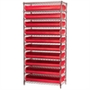 Akro-Mils Wire Shelving Kit, 14x36x74, 20 Bins, Chrome/Red
