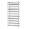 Akro-Mils Wire Shelving Kit, 14x36x74, 20 Bins, Chrome/Clear