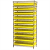 Akro-Mils Wire Shelving Kit, 14x36x74, 20 Bins, Chrome/Yellow