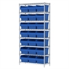Akro-Mils Wire Shelving Kit, 14x36x74, 24 Bin, Chrome/Blue