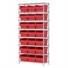 Wire Shelving Kit, 14x36x74, 24 Bin, Chrome/Red