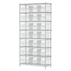 Wire Shelving Kit, 14x36x74, 24 Bin, Chrome/Clear
