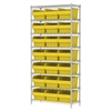 Wire Shelving Kit, 14x36x74, 24 Bin, Chrome/Yellow