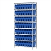 Wire Shelving Kit, 14x36x74, 64 Bin, Chrome/Blue