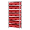 Wire Shelving Kit, 14x36x74, 64 Bin, Chrome/Red