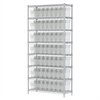 Akro-Mils Wire Shelving Kit, 14x36x74, 64 Bin, Chrome/Clear