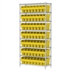 Akro-Mils Wire Shelving Kit, 14x36x74, 64 Bin, Chrome/Yellow