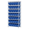 Akro-Mils Wire Shelving Kit, 14x36x74, 40 Bin, Chrome/Blue