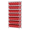 Wire Shelving Kit, 14x36x74, 40 Bin, Chrome/Red