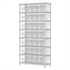 Wire Shelving Kit, 14x36x74, 40 Bin, Chrome/Clear